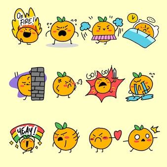 Ausdrucksstarke orange maskottchen-zeichenillustrations-asset-sammlung