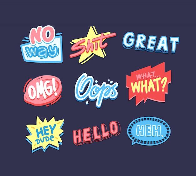 Ausdrucksstarke sprüche aufkleber packen. kreative social media cartoon-nachrichten. hallo, hoppla, omg schriftzüge slang phrasen sammlung