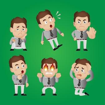 Ausdrucksstarker geschäftsmann in verschiedenen posen