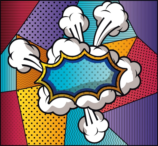 Ausdruckswolke mit mustern im pop-art-stil