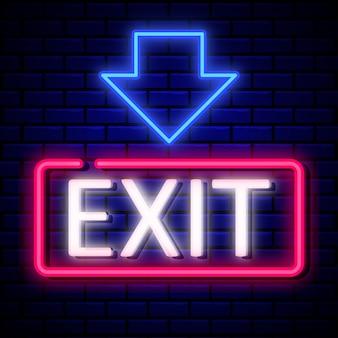 Ausfahrt zeichen neon-stil