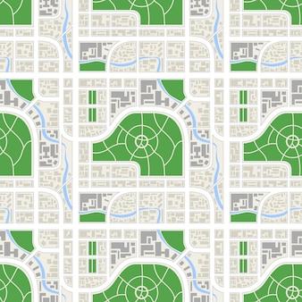 Ausführliche abstrakte karte der stadt mit fluss und parks, nahtloses muster