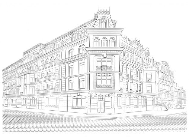 Ausführliche altbauten auf der straßeneckenvektorzeichnung