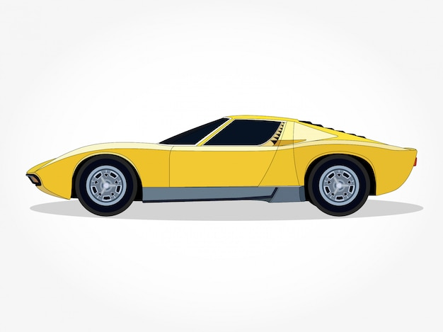 Ausführliche karosserie und felgen einer flachen gelben auto-karikatur-vektorillustration mit schwarzem anschlag