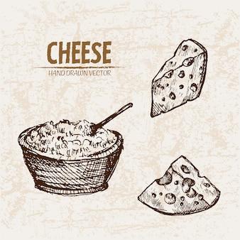 Ausführliche linie kunst geriebener käse mit löchern