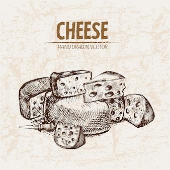 Ausführliche linie kunst geschnittener käse mit lochsammlung
