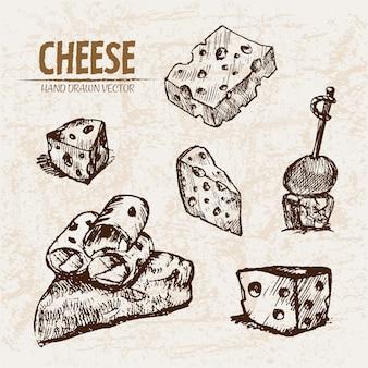 Ausführliche linie kunst geschnittener käse mit löchern auf aufsteckspindel
