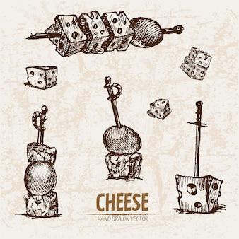 Ausführliche linie kunst geschnittener käse mit löchern mit aufsteckspindel