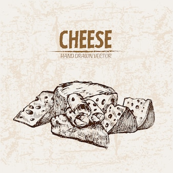 Ausführliche linie kunst geschnittener käse mit löchern