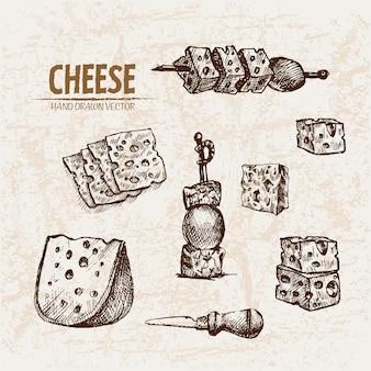 Ausführliche linie kunst schnitt käse mit löchern auf aufsteckspindelansammlung