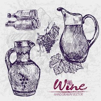 Ausführliche linie kunsthand gezeichnete purpurrote weinflaschenillustration