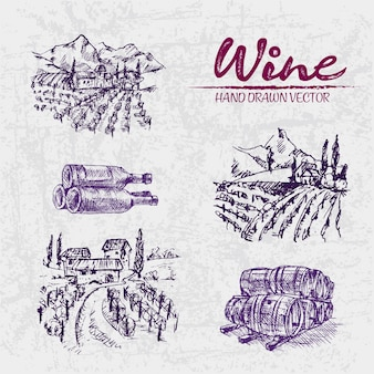 Ausführliche linie kunsthand gezeichnete purpurrote weinkellereiillustration