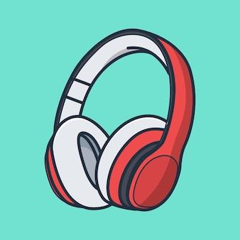 Ausführliches rotes kopfhörerillustrationsdesign. designkonzept für isolierte objekte