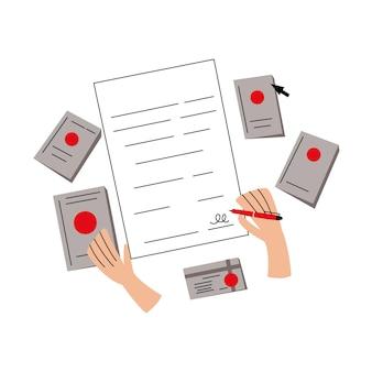 Ausfüllen von dokumenten signieren der dokumentenverwaltung