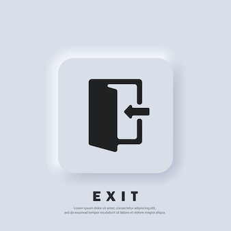 Ausgangs- und eingangssymbol. exit-symbol. vektor. ui-symbol. konturierte offene tür mit einem pfeil. neumorphic ui ux weiße benutzeroberfläche web-schaltfläche. neumorphismus-stil.