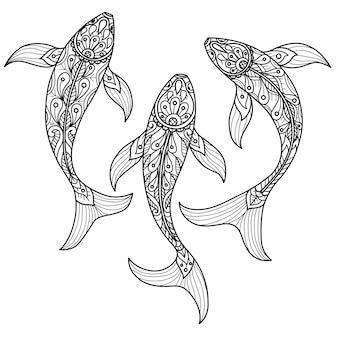 Ausgefallene karpfenmuster. hand gezeichnete skizzenillustration für erwachsenes malbuch