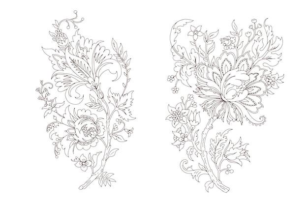 Ausgefallener dekorativer floraler vektorzweig lineart