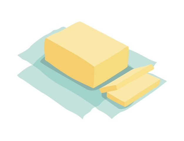 Ausgepacktes stück butter. zutaten und kochgeschirr zur herstellung von teig, keks oder croissant. flache cartoon-vektor isolierte symbol.