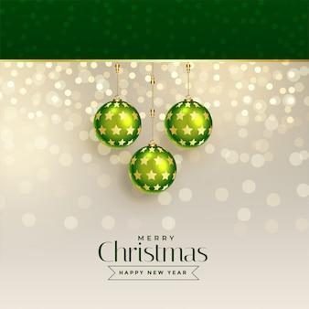 Ausgezeichnetes weihnachtsgrußdesign mit grünen weihnachtsbällen