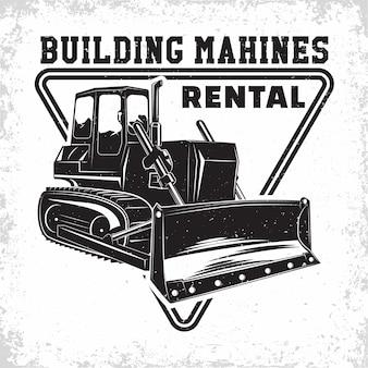 Ausgrabungsarbeitslogo, emblem des bulldozers oder der druckmaschine der baumaschinenvermietung, stempel, konstruktionsausrüstung, typografisches emblem der schweren bulldozermaschine,