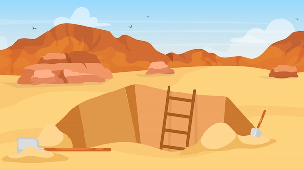 Ausgrabungsillustration. archäologische stätte, suche nach artefakten. mit schaufeln graben. ägyptische wüstenerkundung. bergmannsloch in afrika. expeditionskarikaturhintergrund