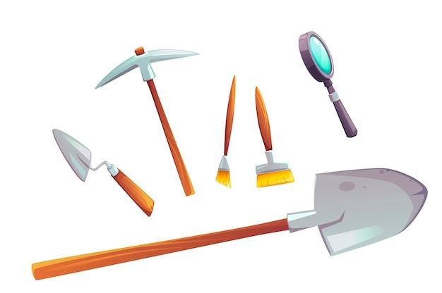 Ausgrabungswerkzeugsatz der karikaturillustration