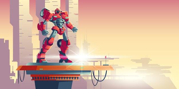 Ausländischer eindringling des roten robotertransformators auf raumschiff