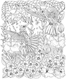 Ausmalbild: kolibris und blumen