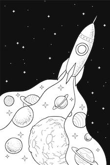 Ausmalbild: rakete im weltraum