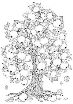 Ausmalbild: schöne apfelbaumzeichnung drawing
