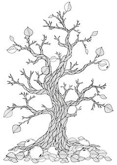 Ausmalbild: trockener apfelbaum
