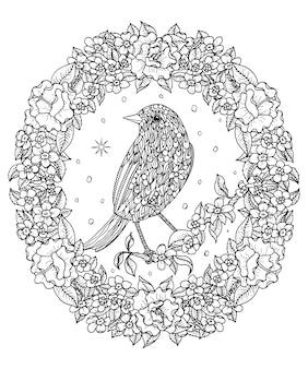 Ausmalbild: vogel- und blumenkranz zum ausmalen