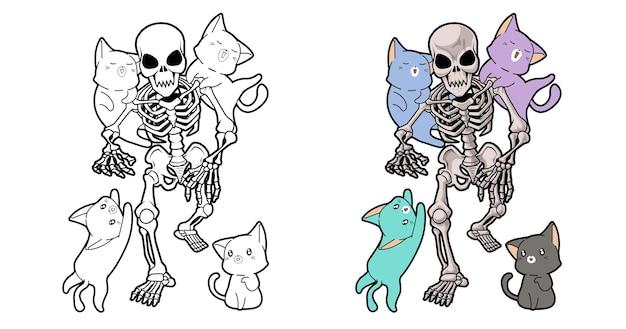 Ausmalbilder katzen und skelett-cartoon