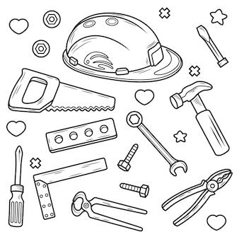 Ausrüstung des auftragnehmers. werkzeugillustration, isoliert auf weiß