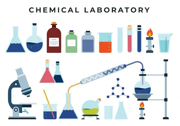 Ausrüstung des chemischen trainings oder des forschungslabors, satz flache ikonen. flasche, spirituslampe, reagenzglas, mikroskop, reagenzien, becher, chemikalien.