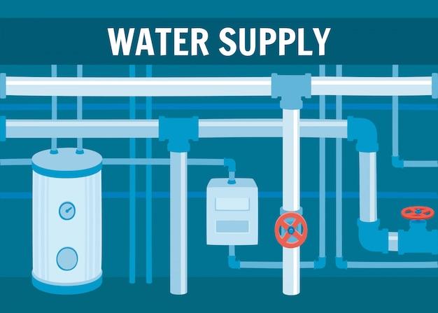 Ausrüstung des wasserzirkulationssystems im keller