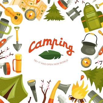 Ausrüstung für camping im waldhintergrund