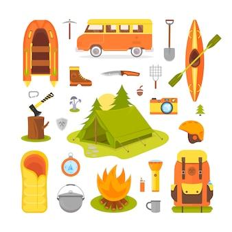 Ausrüstung für camping und wandern