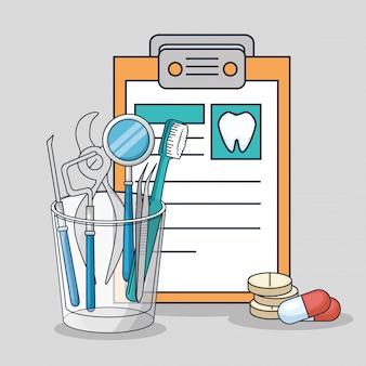 Ausrüstung für die diagnose und zahnärztliche behandlung