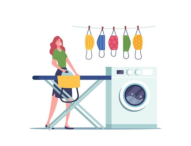 Ausrüstung für die prävention von covid-infektionen, gesundheitskonzept. hausfrau weiblicher charakter, der wiederverwendbare stoffmasken mit hellen mustern wäscht, bügelt und trocknet. cartoon-menschen-vektor-illustration