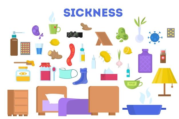 Ausrüstung für kranke zeichensätze. essen und medikamente