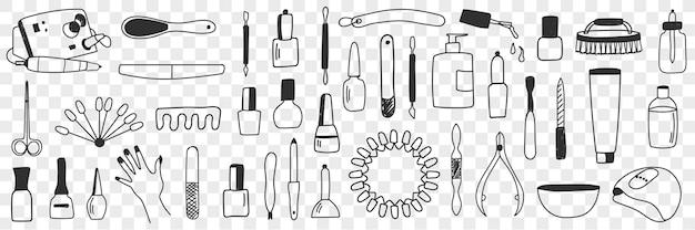 Ausrüstung für maniküre-doodle-set