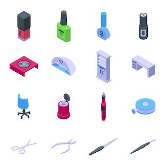 Ausrüstung für maniküre-icons gesetzt. isometrischer satz ausrüstung für manikürevektorikonen für webdesign lokalisiert auf weißem hintergrund
