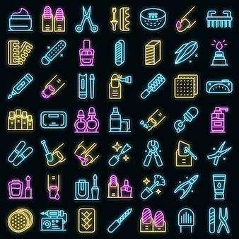 Ausrüstung für maniküre icons set vektor neon