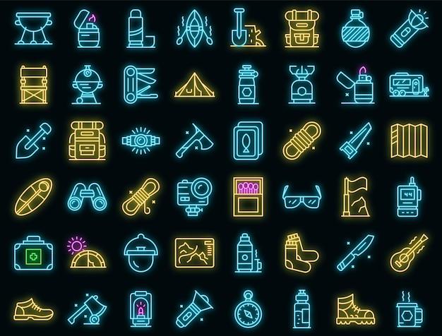 Ausrüstung für wanderung icons set vektor neon