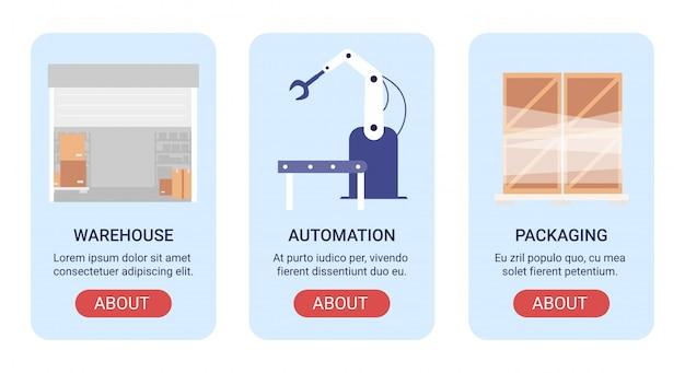 Ausrüstung im lagerillustrationsfahnensatz. mobile cartoon-anwendung für die webseite des lagerunternehmens, bildschirmschnittstellen-app mit automatischen robotergeräten, verpackungswerkzeuge