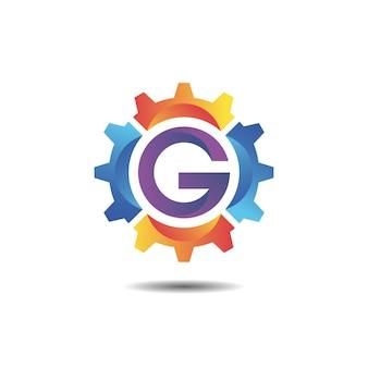 Ausrüstung mit logo-design mit farbverlauf des buchstabens g