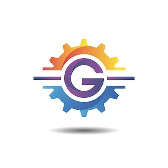 Ausrüstung mit logo mit farbverlauf des buchstabens g
