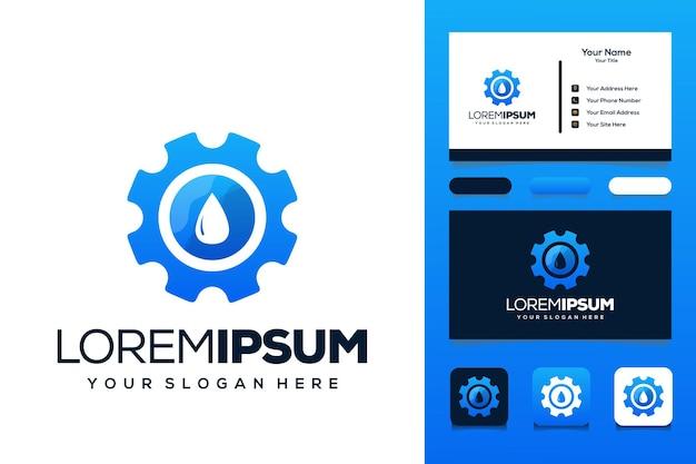 Ausrüstung mit wassertropfen-logo-design-visitenkarte