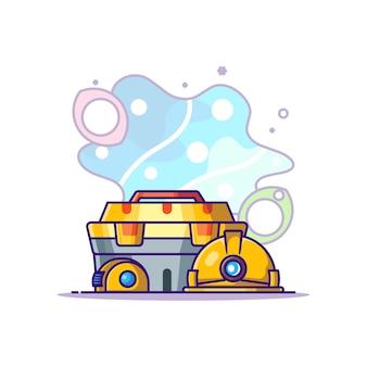 Ausrüstung und werkzeug für builder cartoon illustration. tag der arbeit konzept weiß isoliert. flacher cartoon-stil